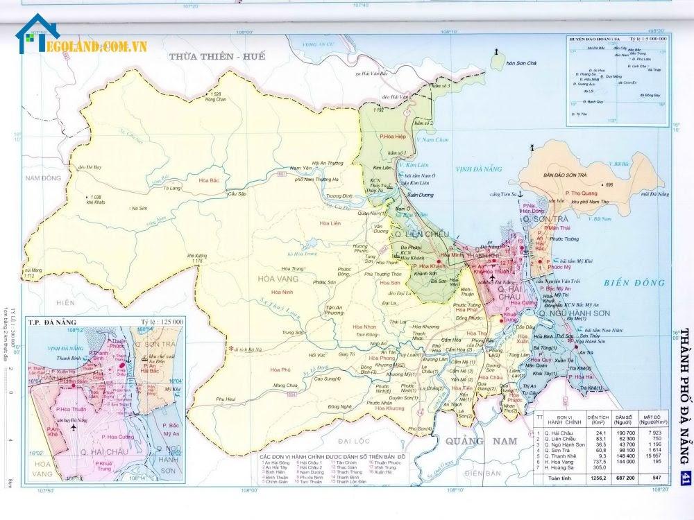 Bản đồ Đà Nẵng về hành chính