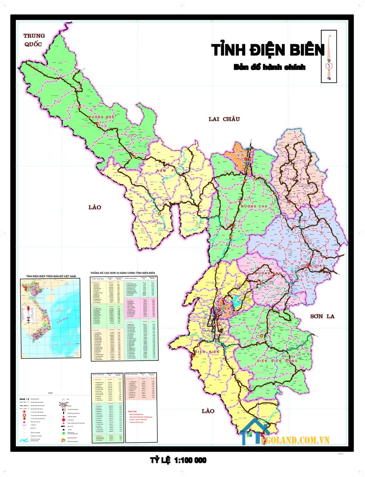 Bản đồ Điện Biên về hành chính