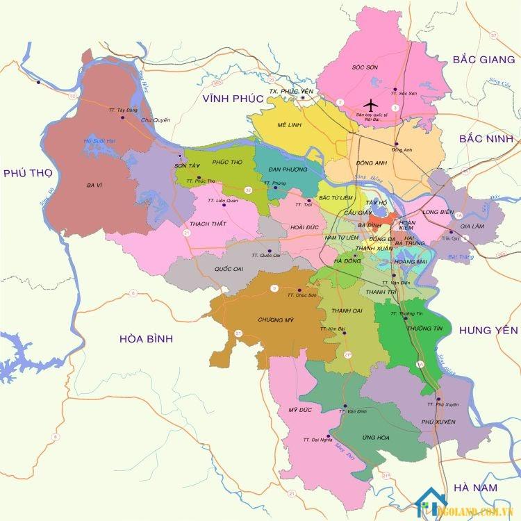 Bản đồ Hà Nội về hành chính