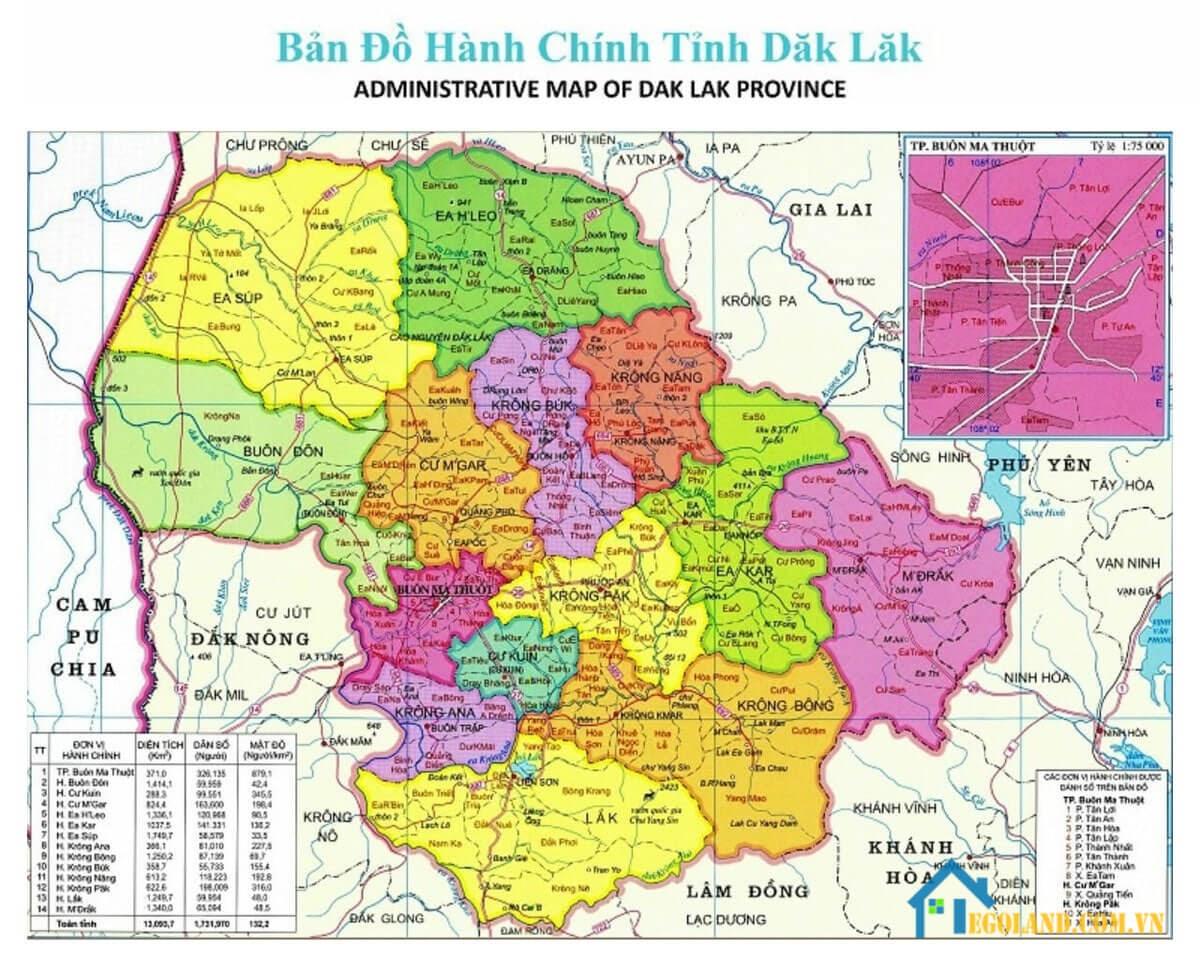 Bản đồ Đắk Lắk về hành chính