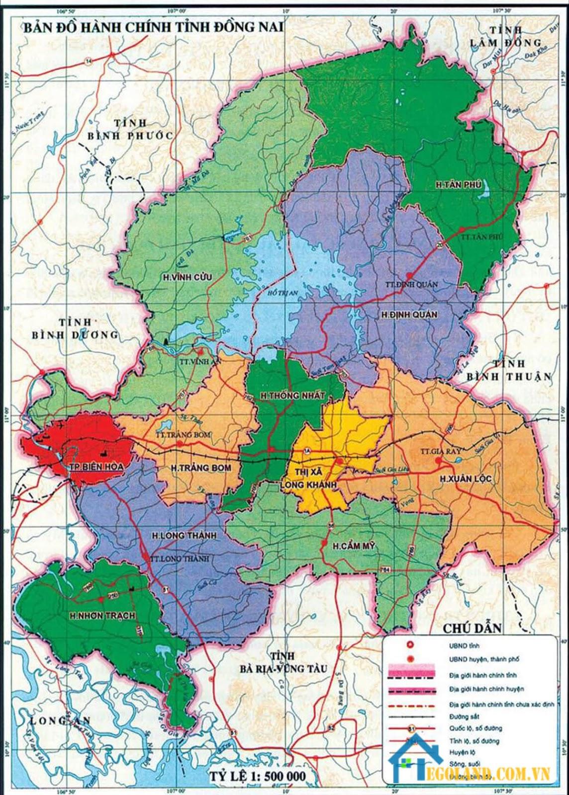Bản đồ Đồng Nai về hành chính