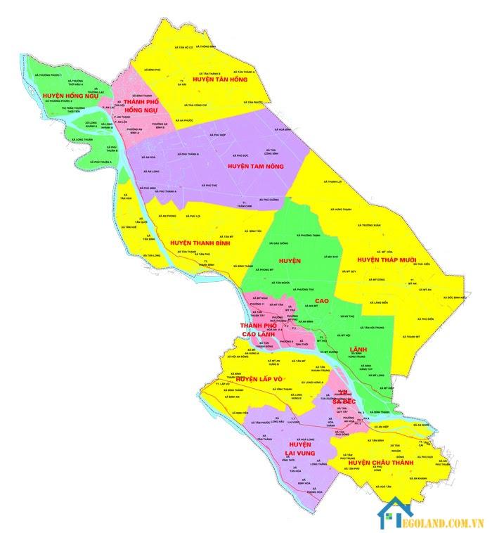 Bản đồ Đồng Tháp về hành chính