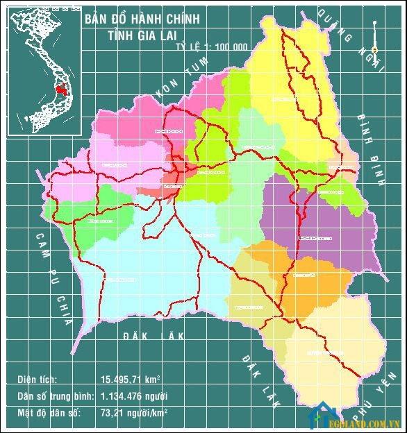 Bản đồ Gia Lai về hành chính