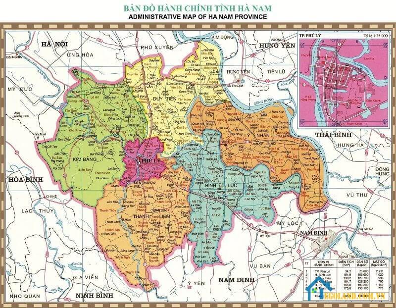 Bản đồ Hà Nam về hành chính