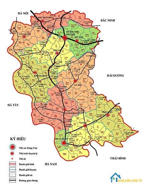 Bản đồ Hưng Yên về hành chính