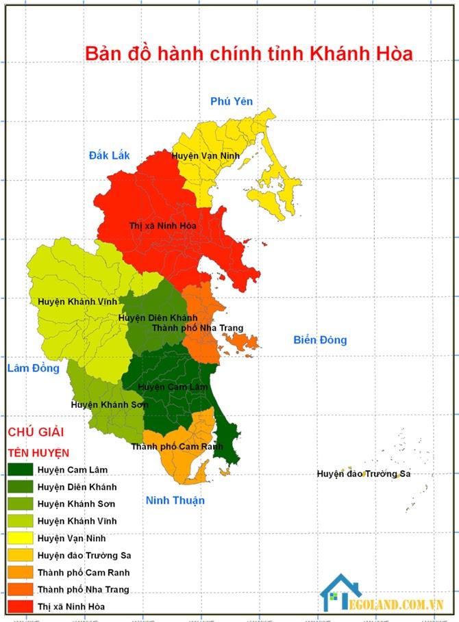 Bản đồ Khánh Hòa về hành chính mới nhất 2021