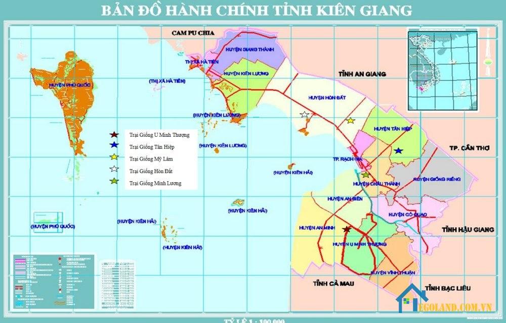 Bản đồ Kiên Giang về hành chính