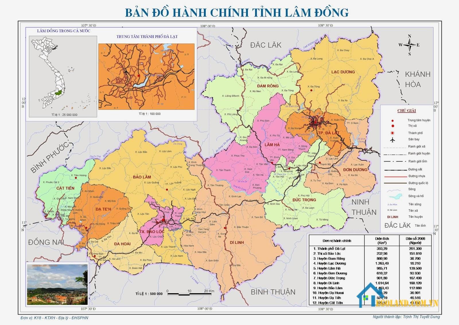 Bản đồ Lâm Đồng về hành chính