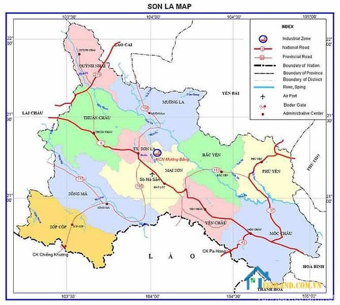 Bản đồ Sơn La về hành chính