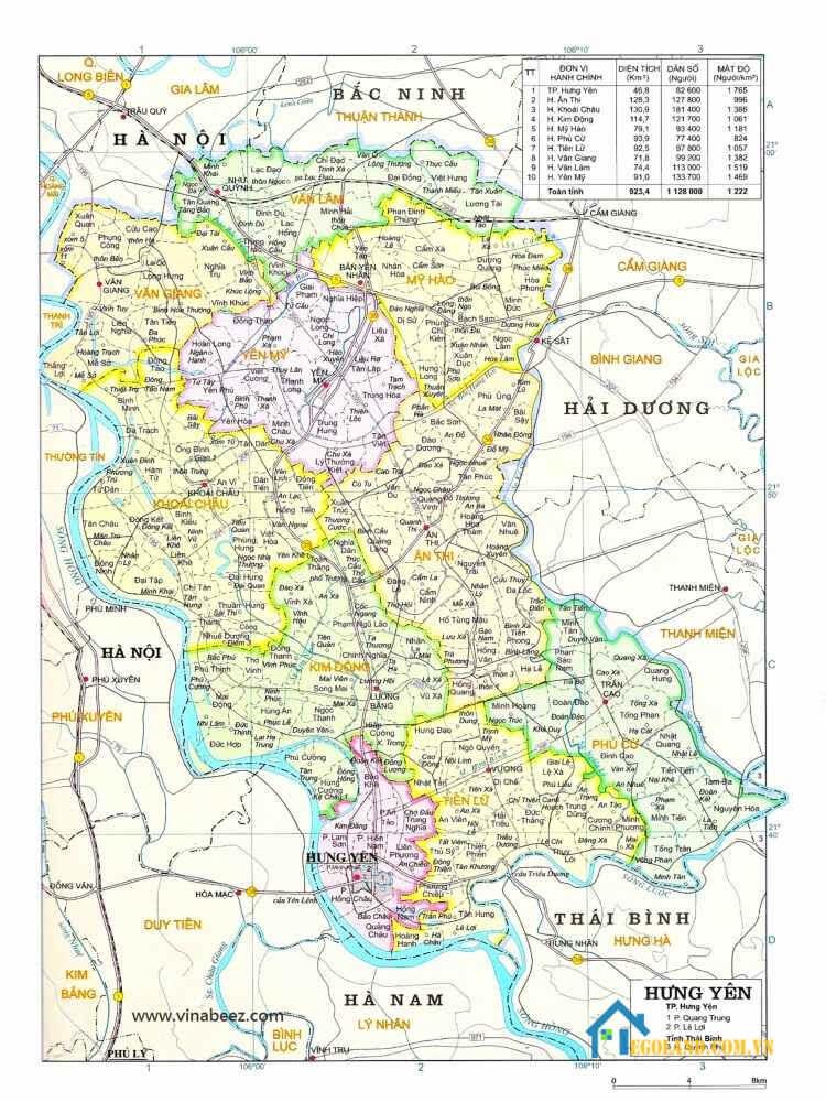 Bản đồ Hưng Yên