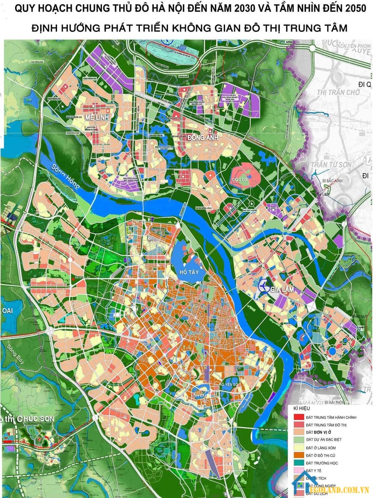 Bản đồ Hà Nội khổ lớn về quy hoạch và sử dụng đất
