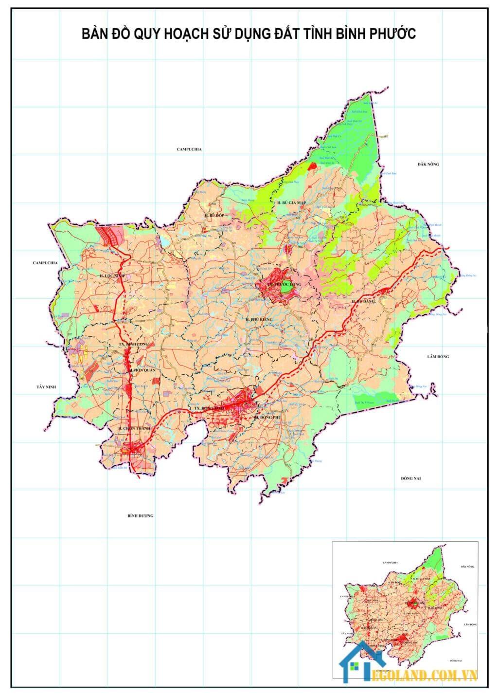 Bản đồ Bình Phước về quy hoạch sử dụng đất
