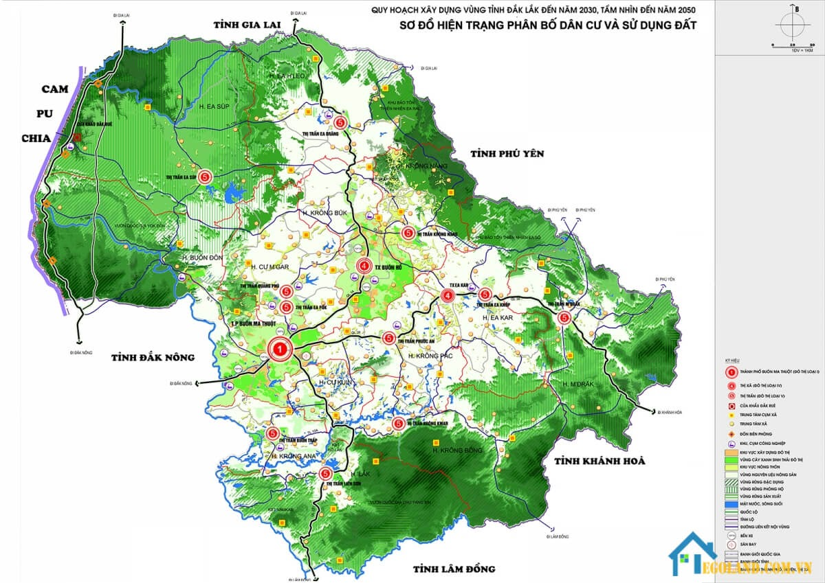 Bản đồ Đắk Lắk về quy hoạch và sử dụng đất