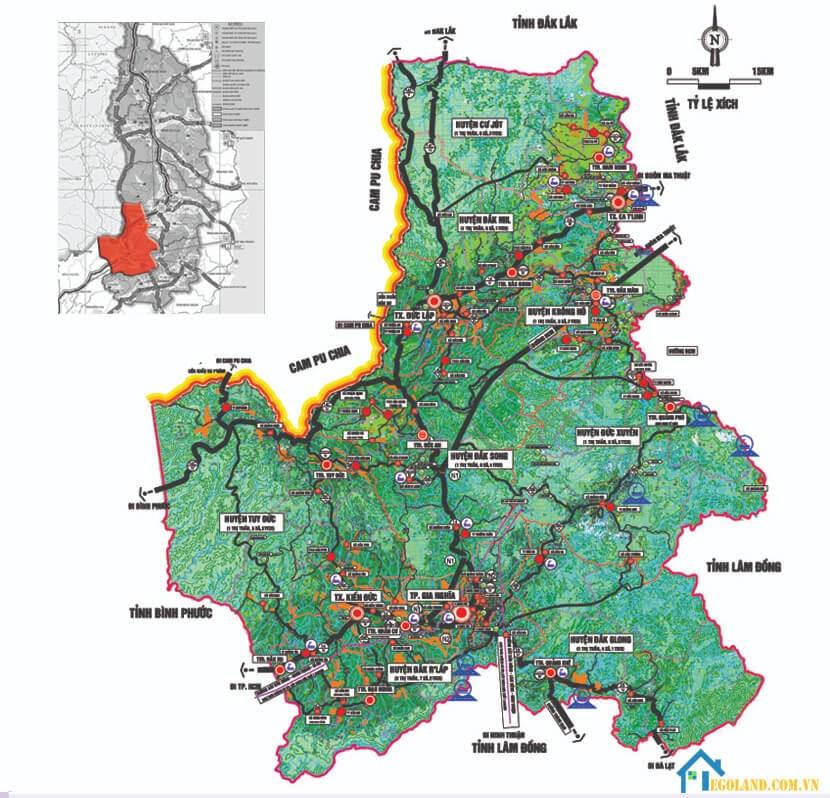 Bản đồ Đắk Nông về quy hoạch và sử dụng đất