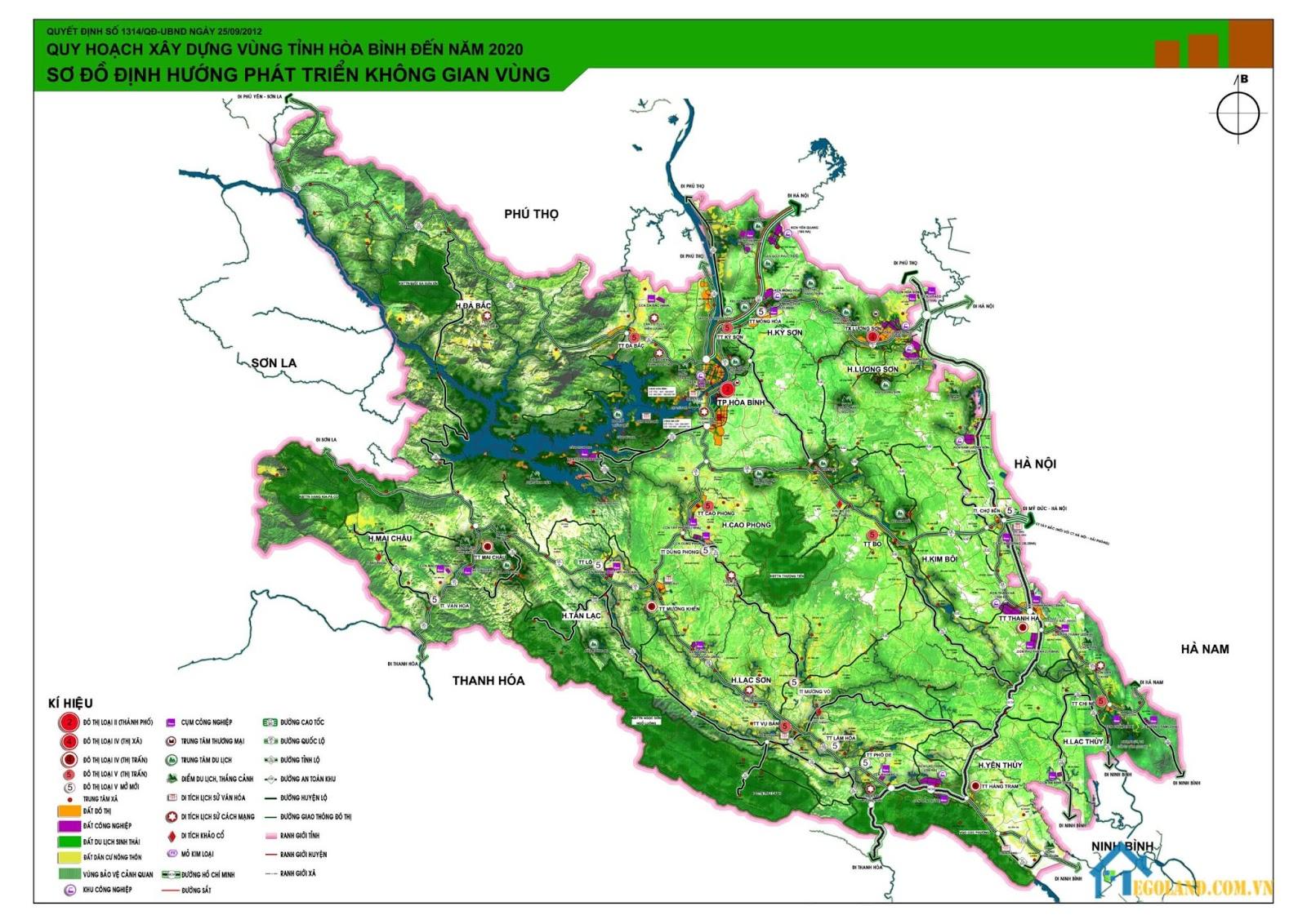 Bản đồ Thành phố Hòa Bình về quy hoạch và sử dụng đất