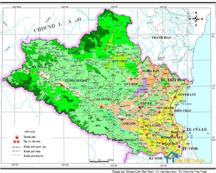 Bản đồ Nghệ An về quy hoạch và sử dụng đất
