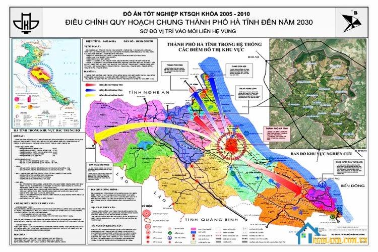 Bản đồ Hà Tĩnh khổ lớn về quy hoạch và sử dụng đất