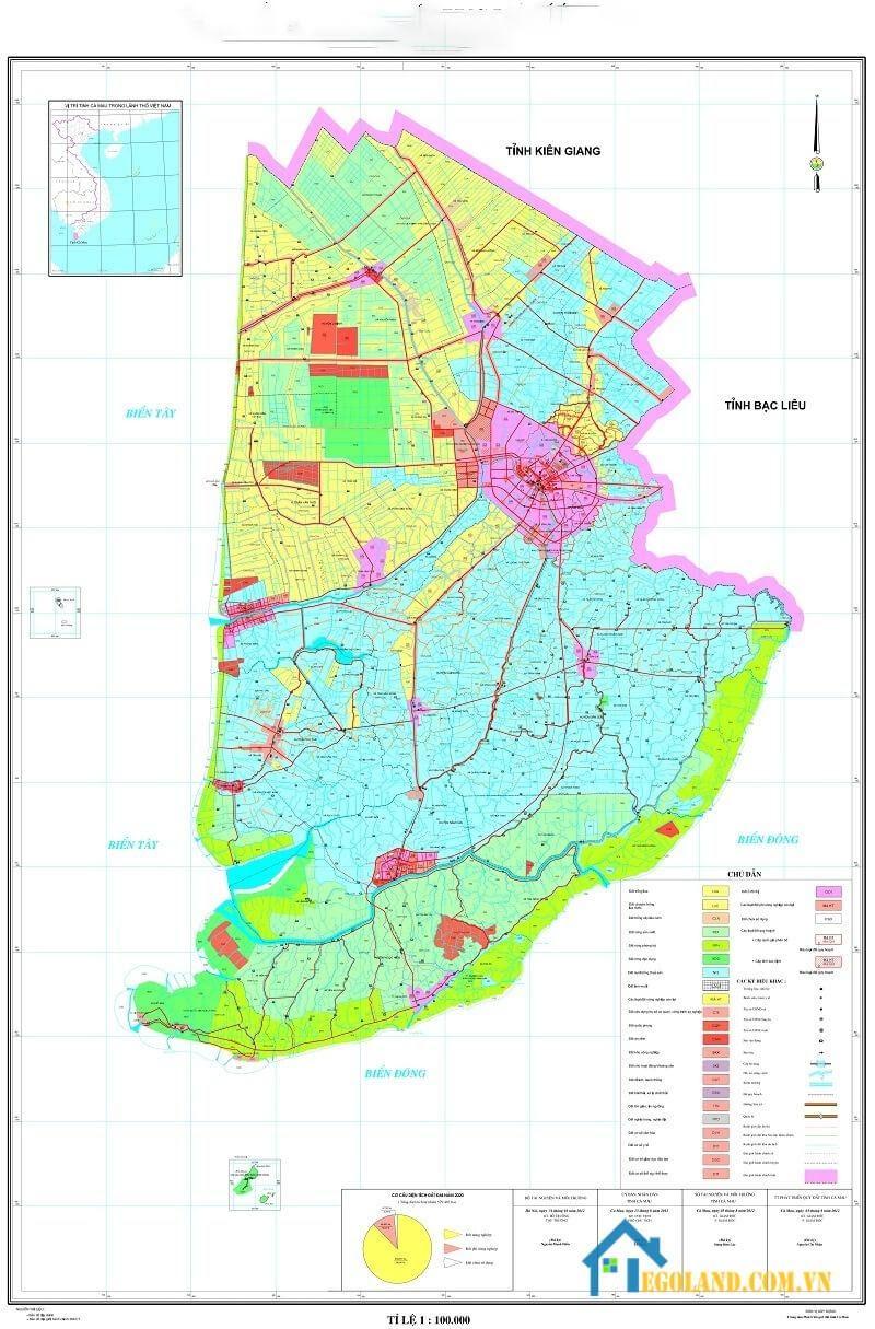 Bản đồ Cà Mau về quy hoạch và sử dụng đất