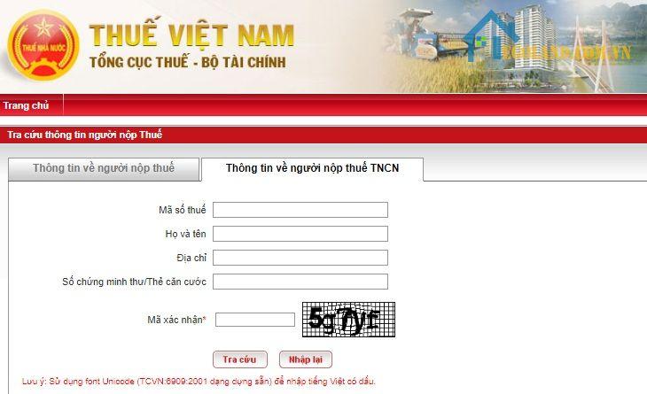 Hiển thị kết quả trên trang web Thuế Việt Nam