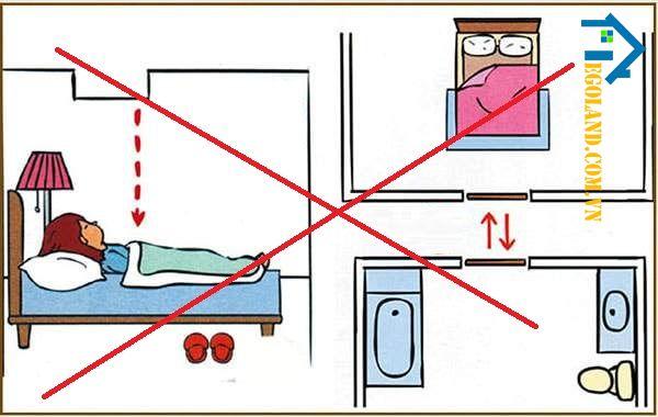 Kiêng kỵ kê giường đầu giường hướng vào sát bồn cầu nhà vệ sinh