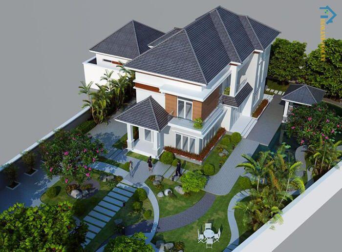 Mẫu thiết kế biệt thự 1000m2 3 tầng mái thái