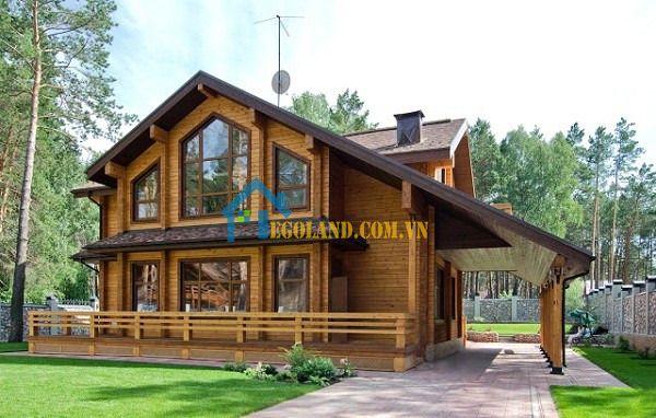 Mẫu nhà gỗ 3 gian 2 tầng mái thái