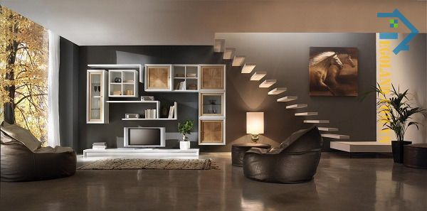Mẫu tủ kệ tivi gầm cầu thang thiết kế độc đáo, bắt mắt