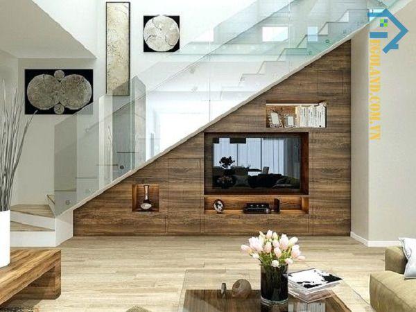 Mẫu tủ kệ tivi gầm cầu thang thiết kế tối giản với chất liệu gỗ cao cấp