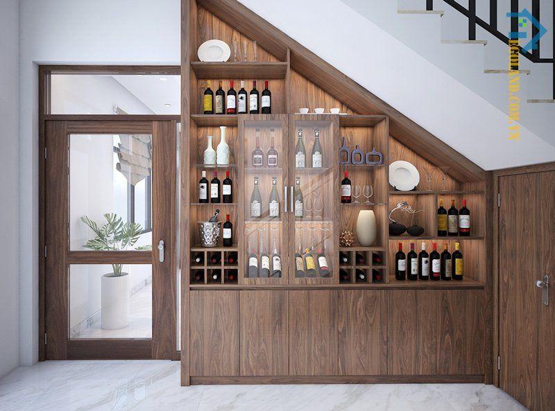 Mẫu tủ rượu gầm cầu thang bằng gỗ công nghiệp thiết kế tinh tế