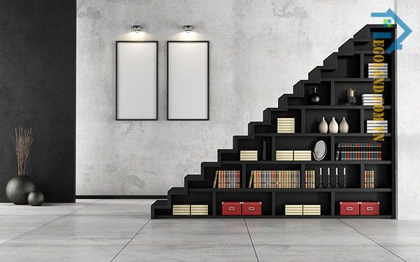 Mẫu tủ sách gầm cầu thang màu đen sang trọng, tinh tế phù hợp với mọi phong cách kiến trúc