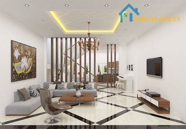 Phòng khách hiện đại tinh giản 5m có cầu thang