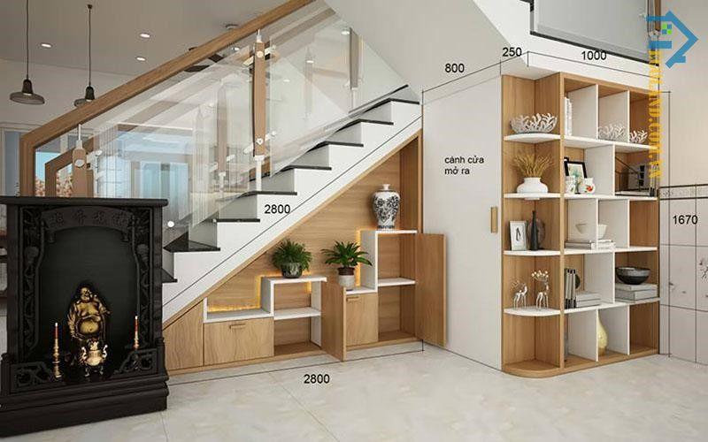 Tủ gầm cầu thang là sản phẩm được thiết kế với kiểu dáng, kích thước thích hợp để đặt ở gầm cầu thang