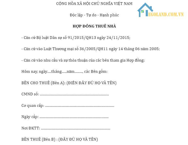 mẫu hợp đồng cho thuê nhà nguyên căn