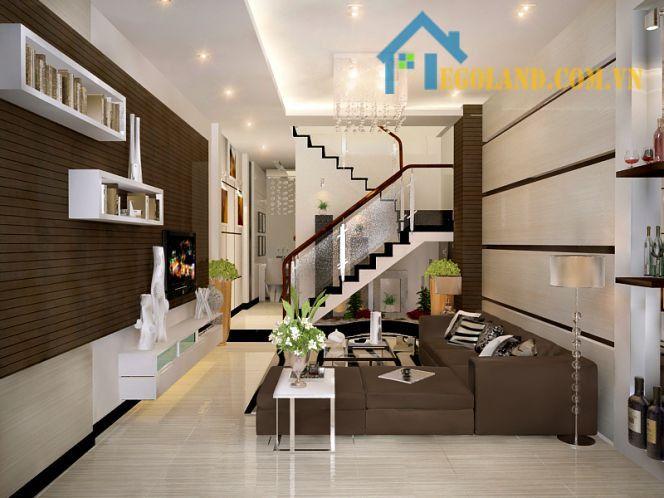 phòng khách được thiết kế với gam màu trầm
