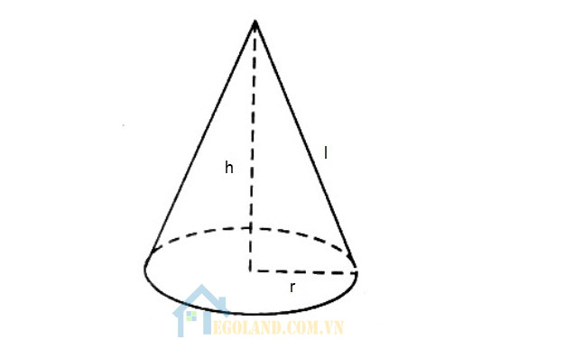 Công thức tính diện tích hình nón