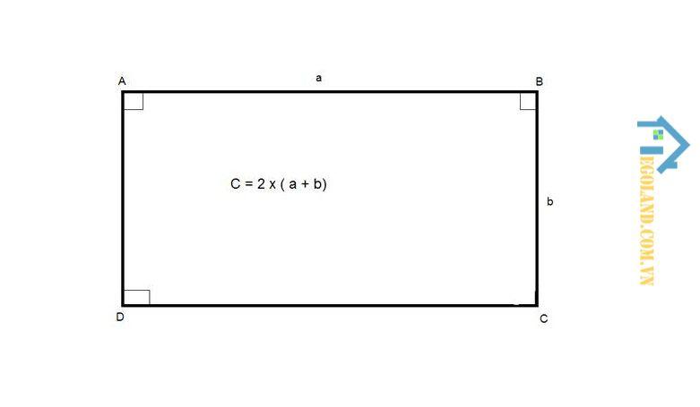 Hình chữ nhật sẽ được tính chu vi bằng tổng độ dài của những đường bao quanh hình chữ nhật