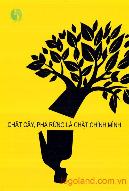 """Tác phẩm """"Chặt cây, phá rừng là chặt chính mình"""" do tác giả Nguyễn Công Quang (Hà Nội) sáng tác"""