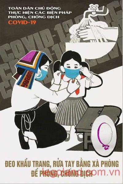 """Tác phẩm """"Đeo khẩu trang, rửa tay bằng xà phòng để phòng, chống dịch"""" của họa sĩ Trần Duy Trúc"""