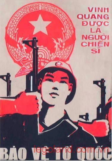 """Tác phẩm tranh cổ động vẽ bằng bột màu """"Bảo vệ Tổ quốc"""" của họa sĩ Xuân Đông sáng tác năm 1978"""
