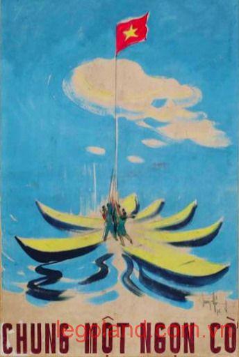 """Tác phẩm vẽ bằng bột màu """"Chung một ngọn cờ"""" của họa sĩ Huỳnh Phương Đông sáng tác năm 1976"""