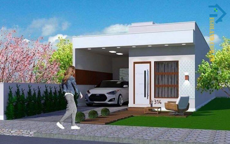 Mẫu nhà cấp bốn mái bằng có gara ô tô trong nhà
