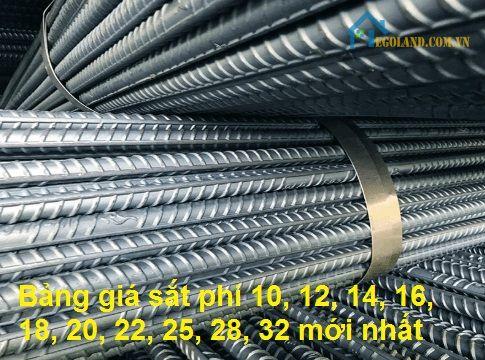 Bảng giá sắt phi 10, 12, 14, 16, 18, 20, 22, 25, 28, 32 mới nhất
