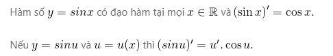 Đạo hàm của hàm số y=sinx