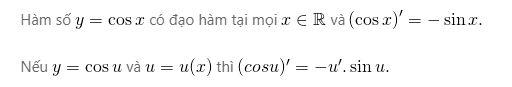 Đạo hàm của hàm số y=cosx