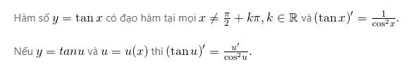 Đạo hàm của hàm số y=tanx