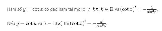 Đạo hàm của hàm số y=cotx