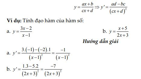 Công thức đạo hàm phân thức bậc 1/ bậc 1