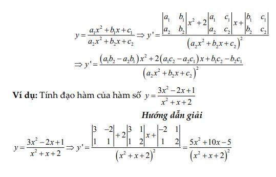 Đạo hàm của hàm phân thức bậc 2/ bậc 2