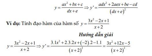 Công thức đạo hàm phân thức bậc 2/ bậc 1