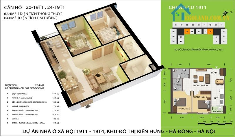 Thiết kế căn hộ 64 m2